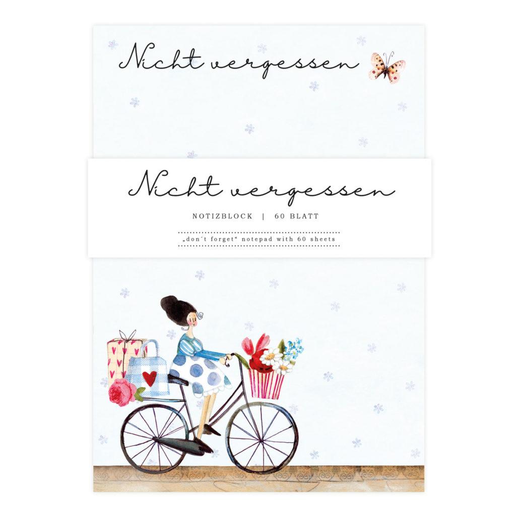 Notizblock mit Silke Leffler Fahrrad  Illustration vom Grätz Verlag