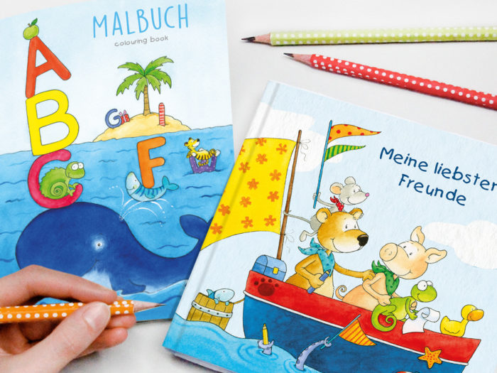 Ideen zum Befüllen der Schultüte zur Einschulung mit Malbuch und Freundebuch