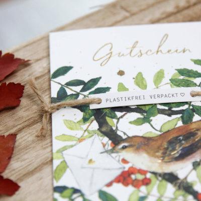 Plastikfreie Gutschein Karten im Grätz Verlag