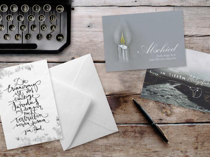 Texthilfen bei Beileidskarten Grätz Verlag Trauerkarten