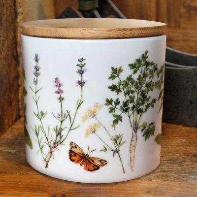 Porzellan Aufbewahrungsdose mit Holzdeckel Kräutergarten Papeterie aus dem Grätz Verlag Illustrationen von Daniela Drescher