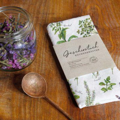 Geschirrhandtuch Kräutergarten Papeterie aus dem Grätz Verlag Illustrationen von Daniela Drescher