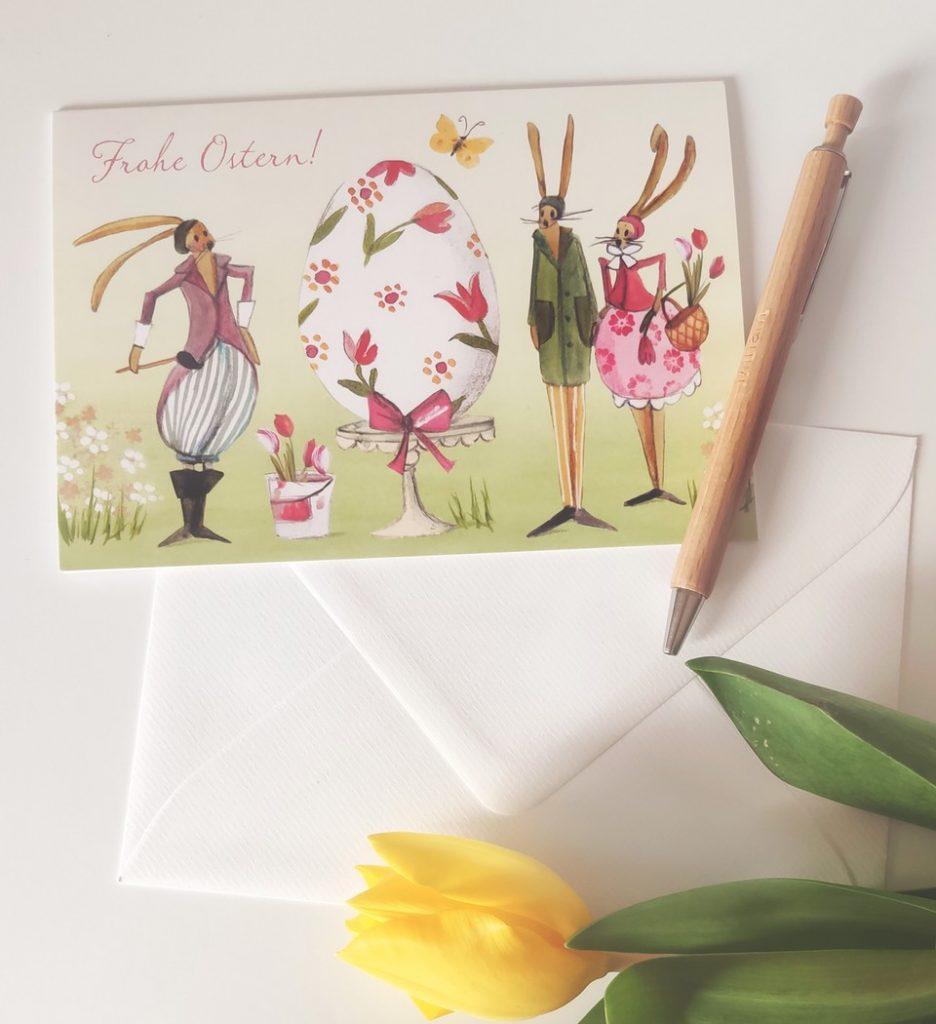 Ostergrüße und Osterpost aus dem Grätz Verlag Karte mit Hase von Silke Leffler