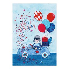 Postkarte mit Auto Happy Birthday
