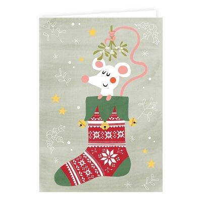 weihnachtskarte mit maus im strumpf 1 05. Black Bedroom Furniture Sets. Home Design Ideas
