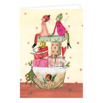 weihnachtskarte mit engeln auf geschenken 2 50. Black Bedroom Furniture Sets. Home Design Ideas